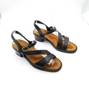 Naot Block Heel Strappy Sandals Black Leather